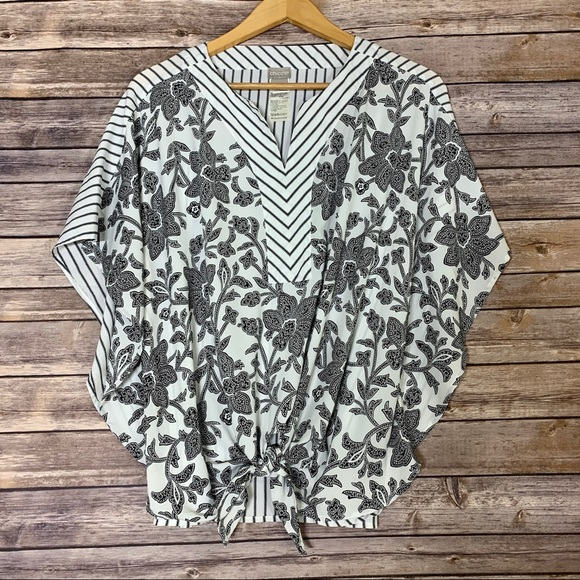Chico's Tops - CHICO's paisley floral black & white tie blouse